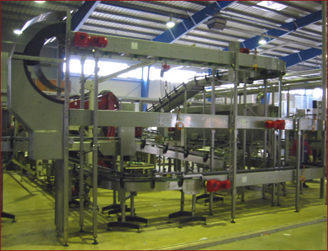 Pack conveying systems 1 - Example: Pack conveyor in a German brewery