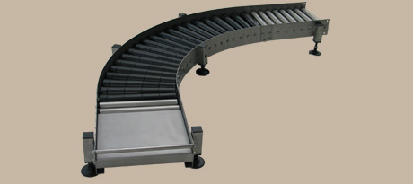 Roller conveyor 2 - Example: Gravity roller conveyor with curve and pick-up area, e.g. for KEG conveying