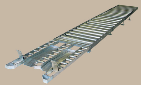 Roller conveyor 2 - Example: Gravity roller conveyor with tripartite discharge and with seperating and stopping device